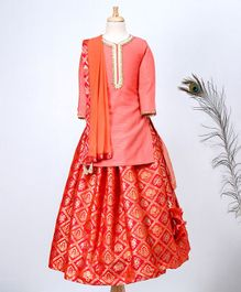 Hugsntugs Kurta With Lace Work At Neck And Brocade Lehenga With Dupatta - Red
