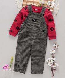 ToffyHouse Denim Dungaree With Full Sleeves Printed Tee - Maroon Black