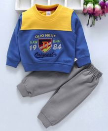 Olio Kids Full Sleeves Tee And Lounge Pant Embroidered Patch - Royal Blue