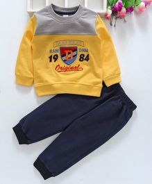 Olio Kids Full Sleeves Tee And Lounge Pant Embroidered Patch - Yellow
