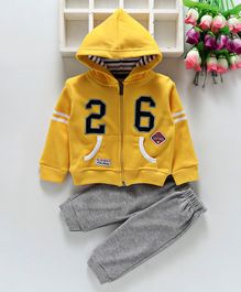 Olio Kids Hooded Sweat Jacket And Lounge Pant - Yellow Grey