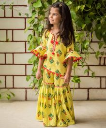 Fairies Forever Floral Print Three Fourth Sleeves Top & Sharara Set - Yellow