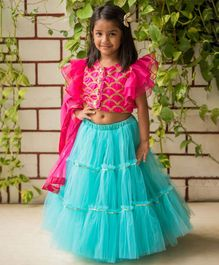 Fairies Forever Short Sleeves Choli & Lehenga With Dupatta Set - Pink & Blue