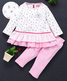 Babyhug Full Sleeves Frock Style Top And Leggings Flower Patch - White Pink