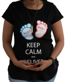 Sababa Miteri Short Sleeves Maternity Tee Keep Calm Print - Black
