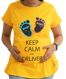 Sababa Miteri Short Sleeves Maternity Tee Keep Calm Print - Yellow