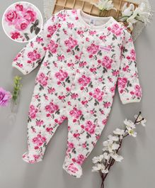 ToffyHouse Full Sleeves Sleepsuit Floral Print - Pink