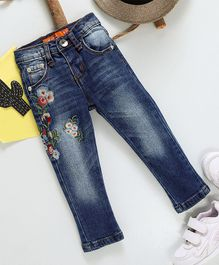 Kookie Kids Flower Embroidered Full Length Jeans - Blue