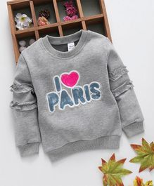 Kookie Kids I Love Paris Print Full Sleeves Tee - Grey