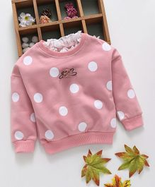 Kookie Kids Big Polka Dot Print Full Sleeves Tee - Pink