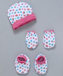 Babyhug Cap Mittens & Booties Set Butterfly & Flower Print - Black & White