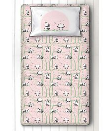 Silverlinen Panda Village Single Bed Sheet & Pillow Cover Set - Pink
