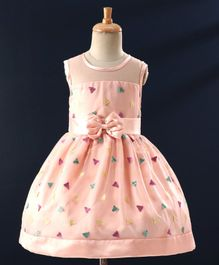 Babyhug Sleeveless Party Frock With Triangular Sequin Design - Peach