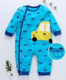 First Movement Car Printed Full Sleeves Romper - Blue