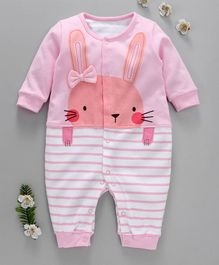 First Movement Bunny Print Striped Full Sleeves Romper - Pink