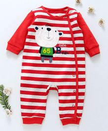 First Movement Bear Applique Striped Full Sleeves Romper - Red