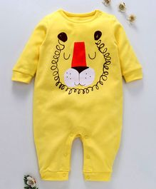 First Movement Animal Face Print Full Sleeves Romper - Yellow
