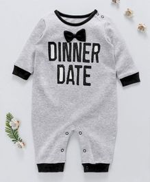 First Movement Dinner Date Print Full Sleeves Romper - Grey
