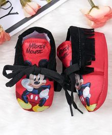 Mickey Mouse and Friends Printed Booties With Lace - Red Black