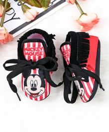 Mickey Mouse and Friends Striped Booties With Lace - Red Black
