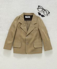 Kookie Kids Solid Full Sleeves Blazer - Beige