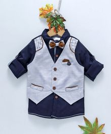 ZY & UP Full Sleeves Shirt With Solid Attached Waistcoat - Navy