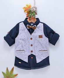 ZY & UP Full Sleeves Shirt With Printed Attached Waistcoat - Blue