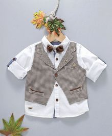 ZY & UP Full Sleeves Solid Shirt With Checked Attached Waistcoat - White