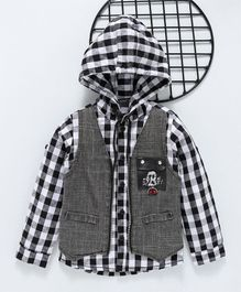 ZY & UP Checked Full Sleeves Hooded Shirt - Black & White