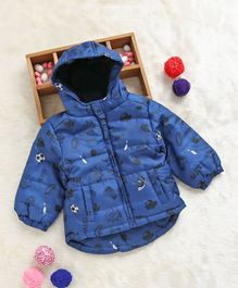 Fox Baby Full Sleeves Hooded Padded Jacket Multiprint - Blue