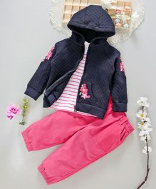 ToffyHouse Striped Tee Corduroy Pant & Hooded Jacket Flower Patch - Pink & Navy