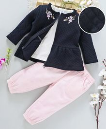 ToffyHouse Tee Corduroy Pant & Jacket Set Flower Patch - Pink & Navy