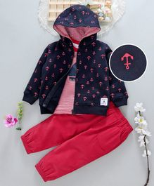 ToffyHouse Tee Corduroy Pant & Hooded Jacket Anchor Print - Navy Red