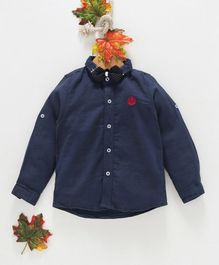 Zy Baby Solid Full Sleeves Shirt With Bow - Blue