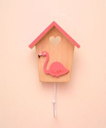 Tipy Tipy Tap Flamingo Cut Out Hut Shape Wooden Wall Hook - Brown Pink