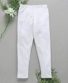 Babyhug Full Length Cotton Stretchable Leggings - White