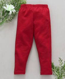 Babyhug Full Length Cotton Stretchable Leggings - Red