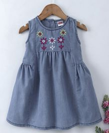 Babyhug Sleeveless Denim Frock Floral Embroidery - Light Blue