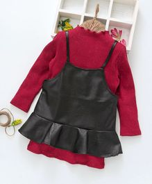 Kookie Kids Full Sleeves Shimmer Inner Tee With Faux Leather Dress - Red & Black