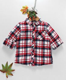 Kookie Kids Checks Full Sleeves Shirt - Red