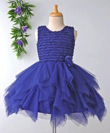 Babyhug Sleeveless Party Wear Frock With Glitter Bodice & Floral Motif - Royal Blue