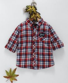 Kookie Kids Checkered Full Sleeves Shirt - Red