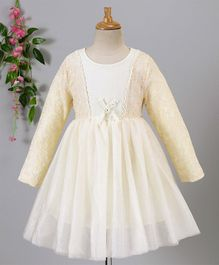 Fen Cai Flower Design Full Sleeves Net Dress - Cream
