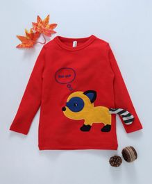 Baobaoshu Dog Patch Full Sleeves Tee - Red
