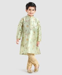 Dapper Dudes Flower Print Kurta & Pajama Set - Light Green