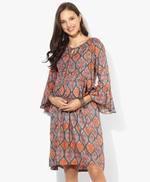 Momsoon Three Fourth Sleeves Maternity Dress Ogee Pattern - Multicolour