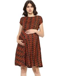 Momsoon Short Sleeves Printed Maternity Dress - Multicolour