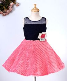 Maalka Sleeveless Flower Applique Dress - Pink