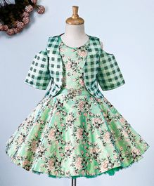 Maalka Flower Print Sleeveless Dress With Half Sleeves Jacket - Green