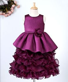 Maalka Polka Dot Print Sleeveless Dress With Flower Applique - Violet